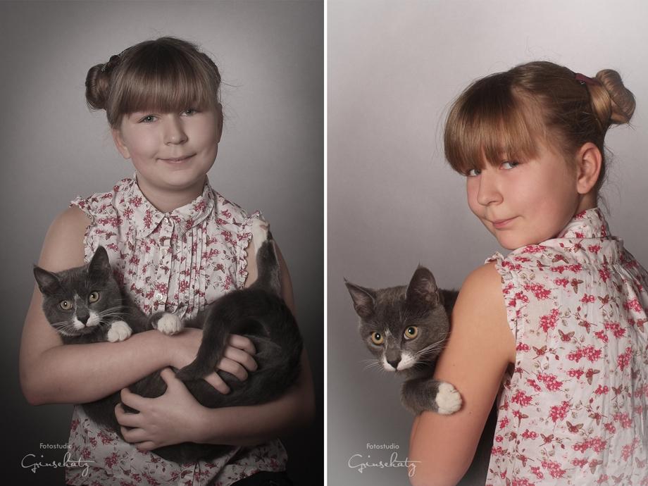 kind und katze kinderfotografie grinsekatz
