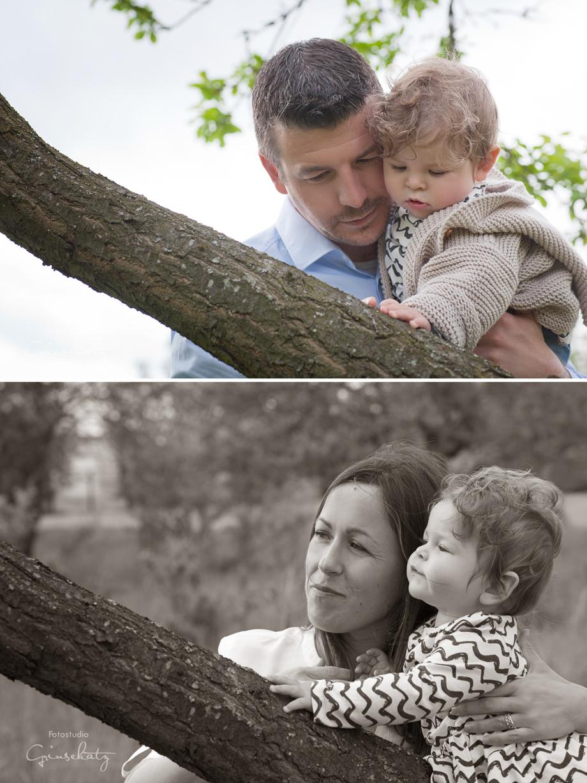 familienfotos draussen kleinkind grinsekatz